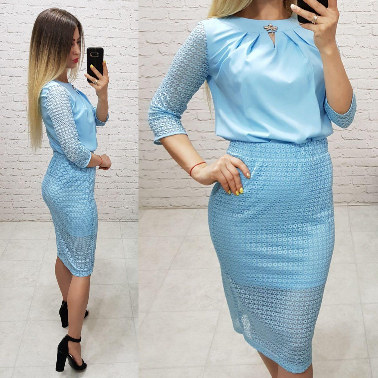 Костюм двійка (арт. 814/2 + 122) жіночий блуза + спідниця ошатний блакитний блакитного кольору