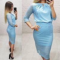 Костюм двійка (арт. 814/2 + 122) жіночий блуза + спідниця ошатний блакитний блакитного кольору, фото 1