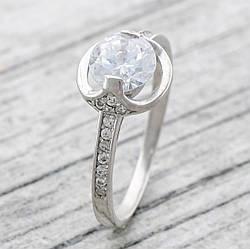 """Серебряное кольцо """"Максима"""", вставка белые фианиты, вес 2.43 г, размер 18"""
