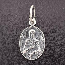 """Серебряная иконка  с чернением""""Святая Ксения"""", размер 22*11 мм, вес серебра 1.66 г"""