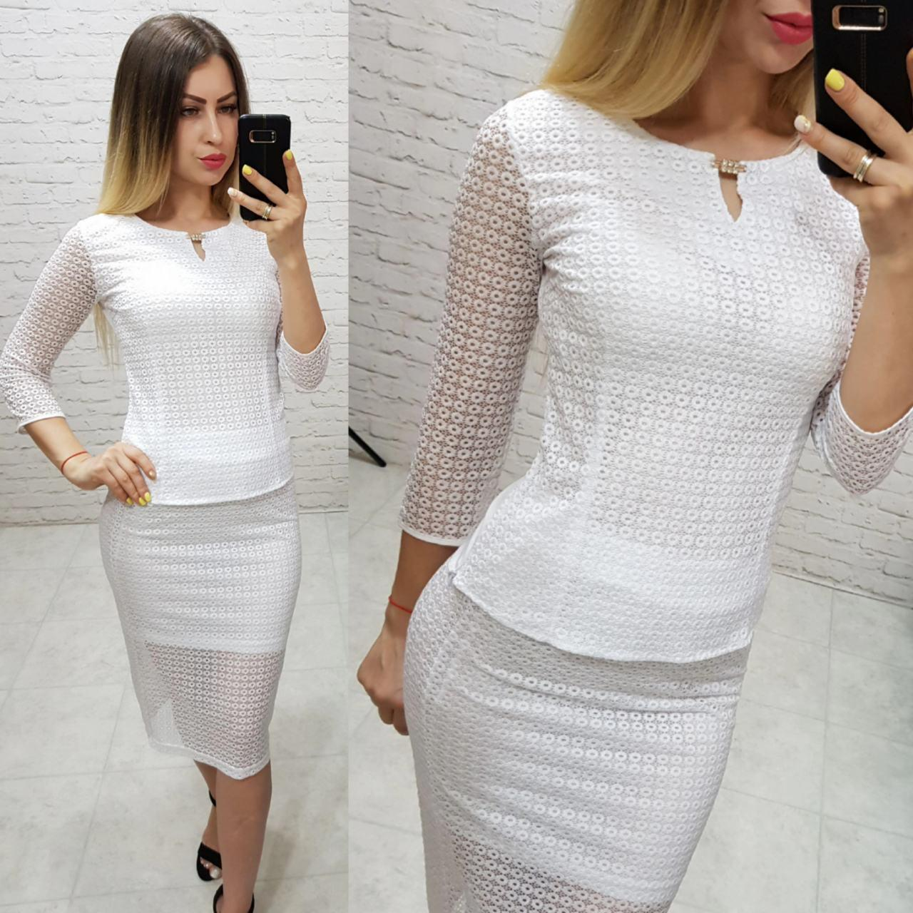 Костюм двойка (арт. 814/2 + 122) женский блука + юбка нарядный белый / белого цвета