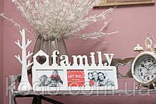 """Фоторамка мультирамка коллаж """"Family"""" из Дерева на 3 фото 10х15 см, фото 2"""