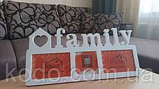 """Фоторамка мультирамка коллаж """"Family"""" из Дерева на 3 фото 10х15 см, фото 3"""