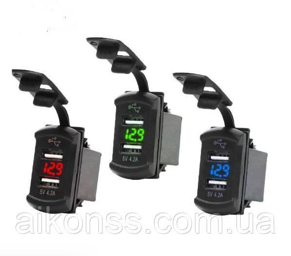 USB  зарядка врезная 4.2A  / 12V-24V мото , автомобильное зарядное устройство влагостойкое с вольтметром LED