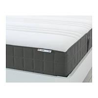 "IKEA ""ХОВОГ"" Матрас с пружинами карманного типа, средней жесткости, темно-серый,  90*200 см"