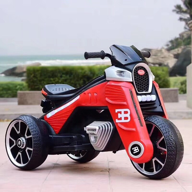 Детский электромобиль Мотоцикл M 4113 EL-3, EVA колеса, Кожаное сиденье, красный