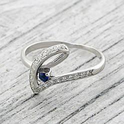 """Серебряное кольцо """"Грация"""", вставка синий и белые фианиты, вес 2.05 г, размер 19"""