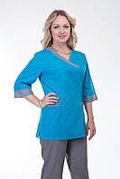Стильный женский медицинский костюм  сине-серый