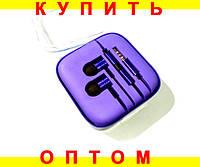 Вакуумные алюминниевые наушники с микрофоном -- ФИОЛЕТОВЫЕ