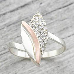 """Серебряное кольцо """"Бутон"""", вставка белыефианиты, вес 2.04 г, размер 20.5"""