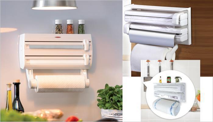 Тройной органайзер для кухни TRIPLE PAPER DISPENSER для фольги, пищевой пленки, бумажных полотенец