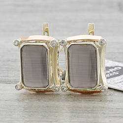 """Серебряные серьги с золотыми пластинами """"Глория"""", размер 21*17 мм, вставка сиреневый улексит, вес 12.7 г"""
