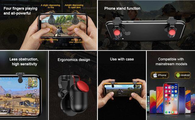 Игровой контроллер, джойстик,триггер Baseus Red-Dot Mobile Game Scoring Tool ACHDCJ-01 для смартфона Черный