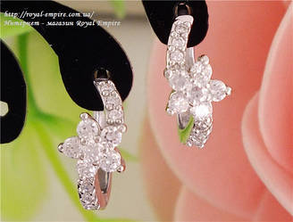 """Сережки """"Оддет"""" покриття срібло 925 проба, з кристалами."""