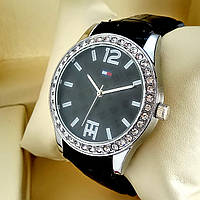 Женские кварцевые наручные часы Tommy Hilfiger T70 на черном кожаном ремешке, черный циферблат, серебро