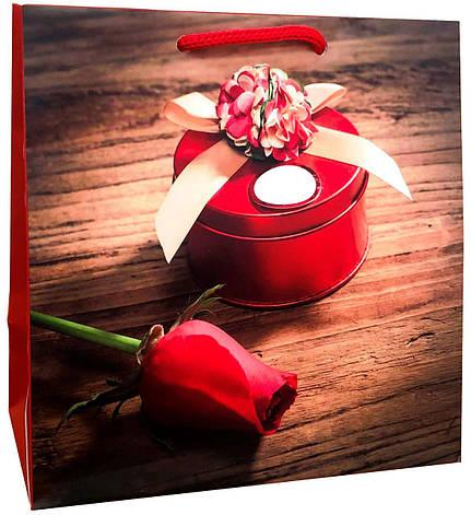 Пакет бумажный подарочный под чашку 16*16см W0-9, фото 2