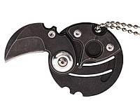 Нож-брелок в виде монеты складной  Черный
