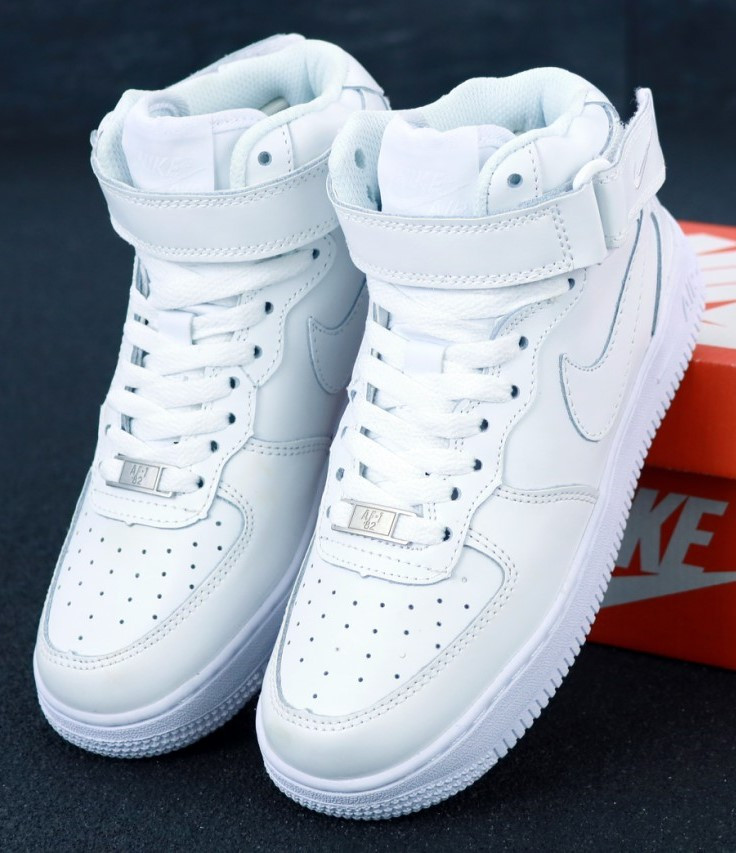 Мужские Кроссовки Nike Air Force 1 mid White белые