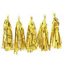 Кисточка тассел, фольга, золото  - 35 см 5 шт. в уп.