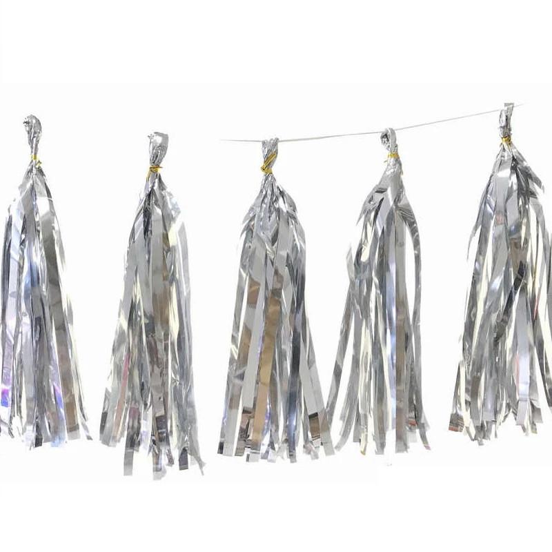 Кисточка тассел, фольга, серебро  - 35 см 5 шт. в уп.