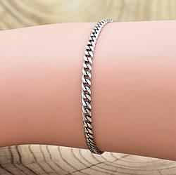 """Серебряный браслет с чернением """"Панцирный скруглённый"""", длина 17 см, ширина 3 мм, вес серебра 2.1 г"""