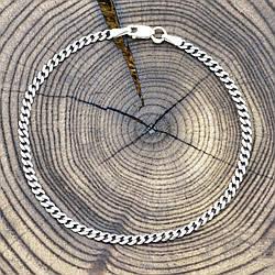 """Серебряный браслет с чернением """"Панцирный скруглённый"""", длина 19 см, ширина 3 мм, вес серебра 2.4 г"""