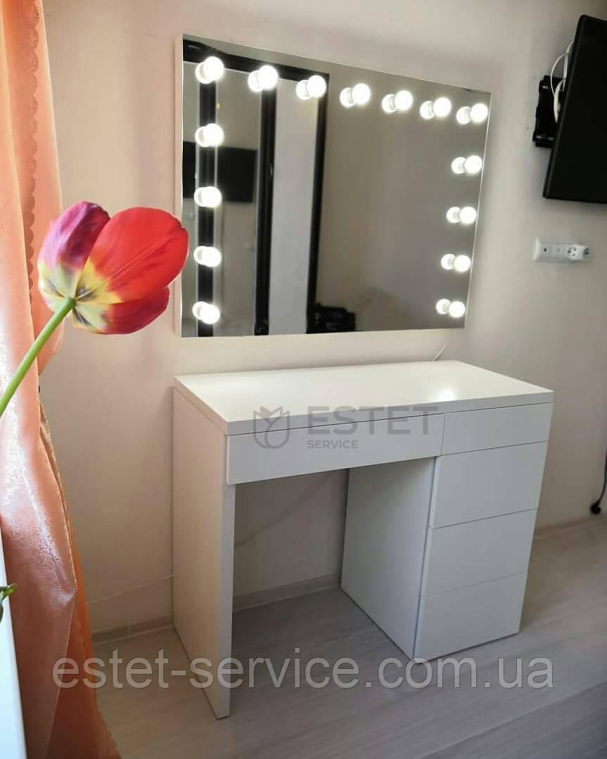 Визажный столик для макияжа с отдельно весящим зеркалом и ящиками КЛИК ES123