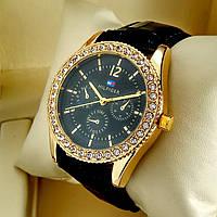 Женские кварцевые наручные часы Tommy Hilfiger T77 на черном кожаном ремешке, черный циферблат, золото