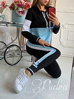 Спортивный костюм женский: на змейке, манжете, с капюшоном; штаны: с лампасом, резинкой и шнурком(42-48)