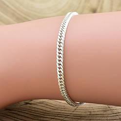 """Серебряный браслет """"Панцирный двойной"""", длина 20 см, ширина 3 мм, вес серебра 4.25 г"""