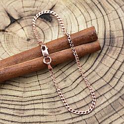 """Серебряный браслет позолоченный """"Панцирный"""", длина 16 см, ширина 2 мм, вес 1.8 г"""