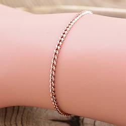 """Серебряный браслет позолоченный """"Панцирный"""", длина 17 см, ширина 2 мм, вес 1.85 г"""