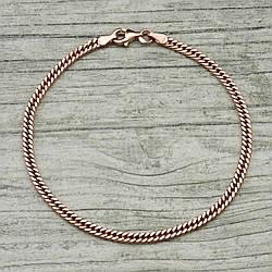 """Серебряный браслет позолоченный """"Панцирный двойной"""", длина 20 см, ширина 3 мм, вес 4.2 г"""