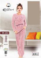 Женская теплая пижама 84-5363 pink Welsoft розовая (l)
