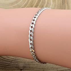 """Серебряный браслет """"Панцирный скруглённый"""", длина 19 см, ширина 4 мм, вес серебра 4.2 г"""