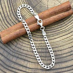 """Серебряный браслет """"Панцирный скруглённый"""", длина 20 см, ширина 4 мм, вес серебра 4.4 г"""