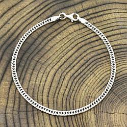 """Серебряный браслет """"Панцирный двойной"""", длина 16 см, ширина 3 мм, вес серебра 3.4 г"""