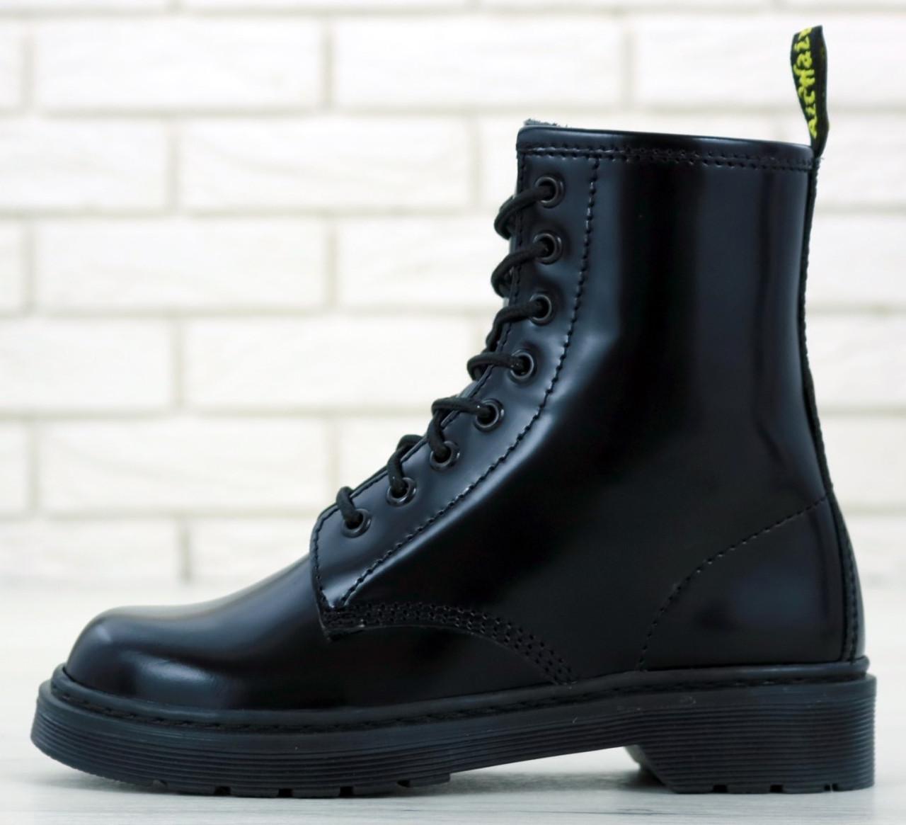Женские Ботинки Dr. Martens 1460 Smooth Black высокие на шнуровке бех меха (Доктор Мартинс черные)