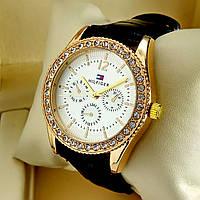 Женские кварцевые наручные часы Tommy Hilfiger T77 на черном кожаном ремешке, золотой циферблат, золото