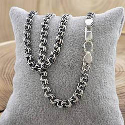 """Серебряная цепочка с чернением """"Бисмарк"""", длина 55 см, ширина 5 мм, вес 24.8 г"""