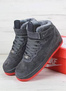 "Зимние мужские кроссовки Nike Air Force 1 High ""Grey"" c мехом, nike air force 1 mid"