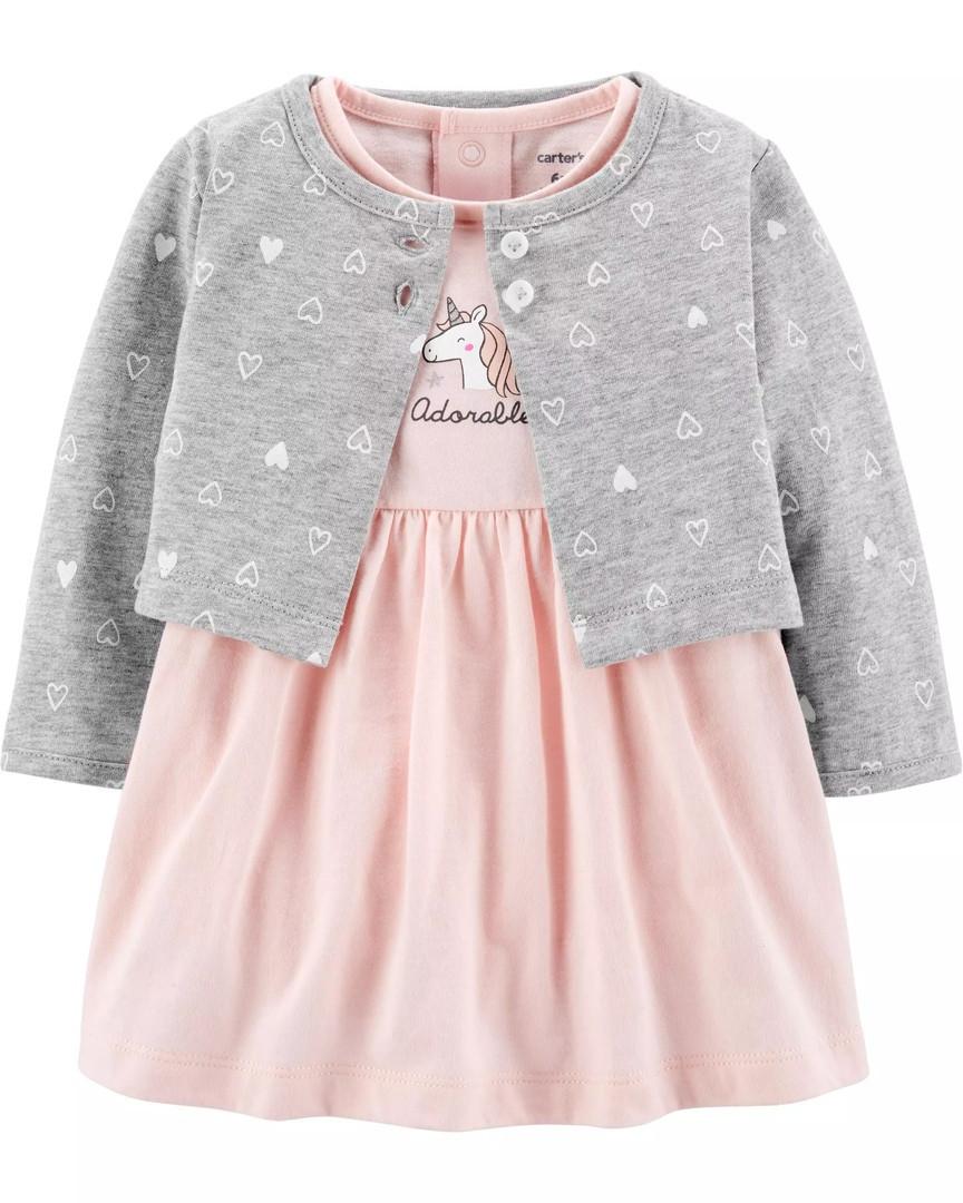 Детский комплект боди-платье и кардиган Единорог Картерс для девочки