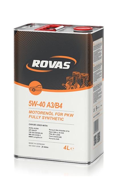Синтетическое моторное масло Rovas 5w-40 A3/B4 4L