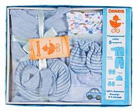 Подарочный комплект для мальчика, 5 предметов, Danaya, голубой (0-3 мес.) (K12-B0118_гол)