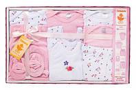 Подарочный комплект для девочки, 10 предметов, Danaya, розовый (0-3 мес.) (K12-B0120_рож)
