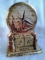 Вечный календарь Парусник ручной работы с часами