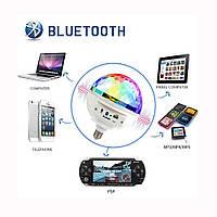 Светодиодный дискошар в патрон с Bluetooth Music Ball E27