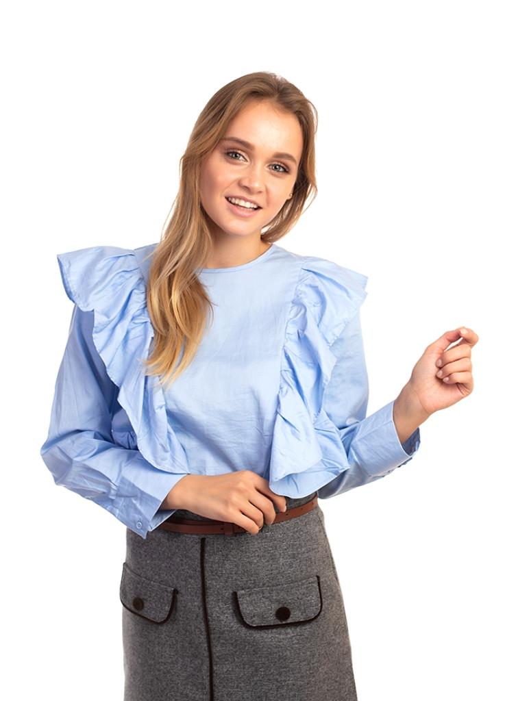 Элегантная блуза с рюшами Bel Mode - голубой цвет, XL (есть размеры)