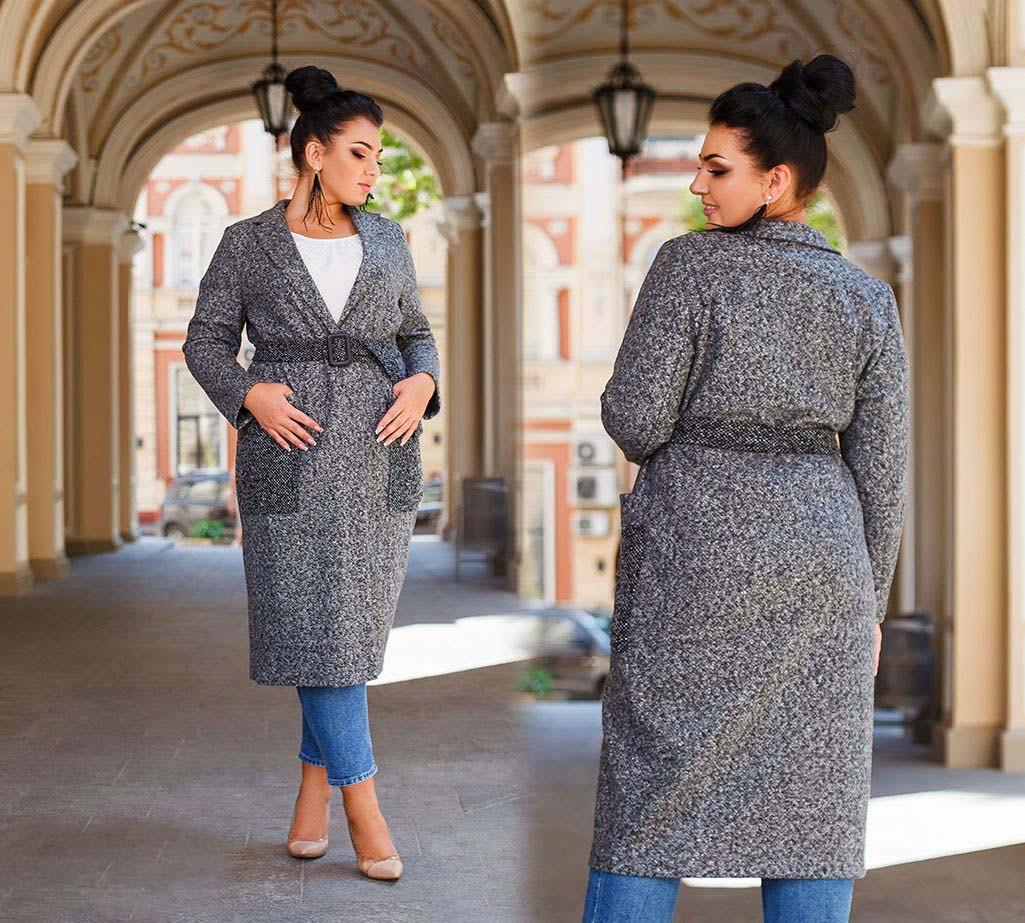"""Стильне жіноче пальто-кардиган до великих розмірів 41334 """"Букле Кишені Пояс Контраст"""" в кольорах"""