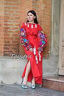 Платье вышиванка лен, многоцветная цветочная вышивка,красное платье в пол, вишита сукня червона